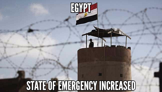 Egypt increased state of emergency